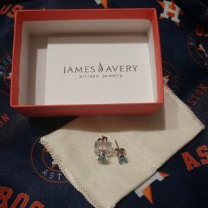 James Avery Blue Topaz Gemstone Ear Posts